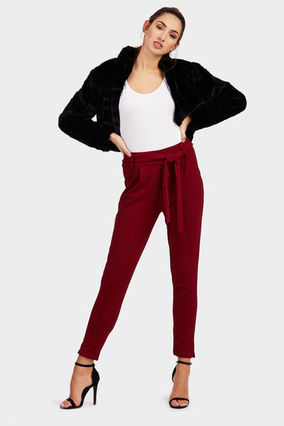 Wine Straight Leg Belted Trousers