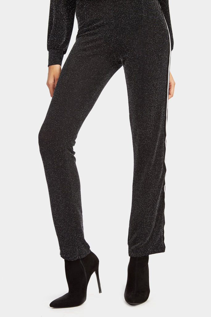 Black Fit And Flare Trousers With Stripe Panel