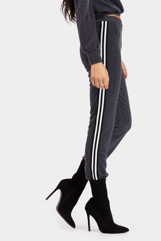 Grey Fit And Flare Trousers With Stripe Panel