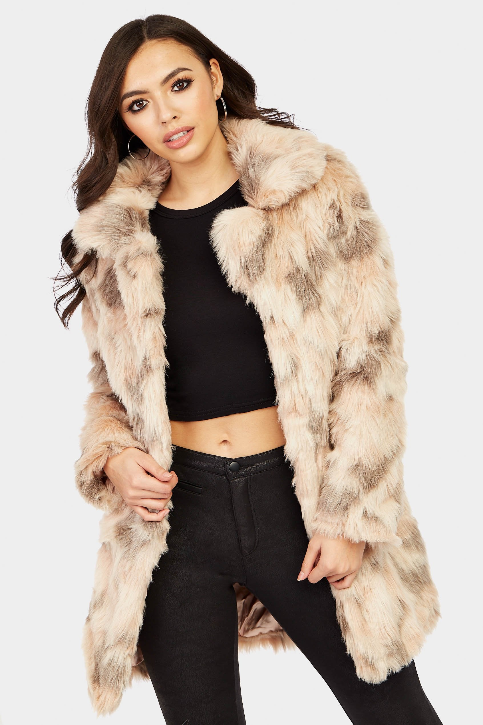Image of Abstract Blush Faux Fur Coat