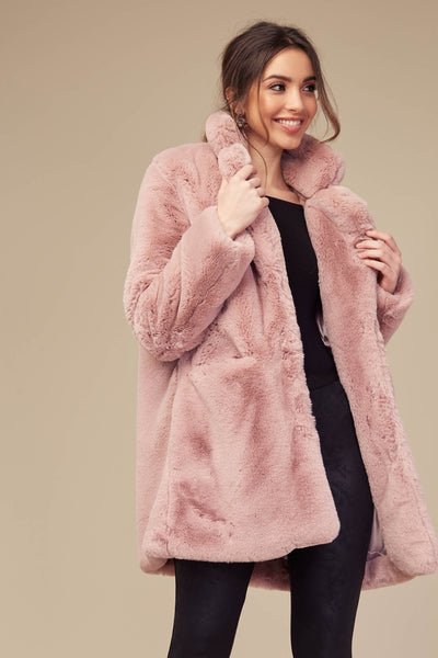 Pink Faux Fur Longline Coat