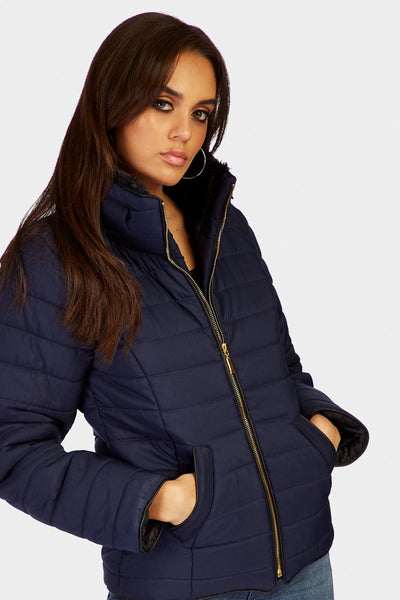 Navy Padded Jacket With Faux Fur Hood