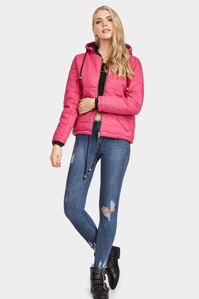 Fuchsia Quilted Hooded Jacket