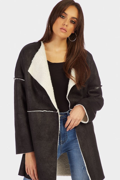 Black Longline Collar Shearling Coat