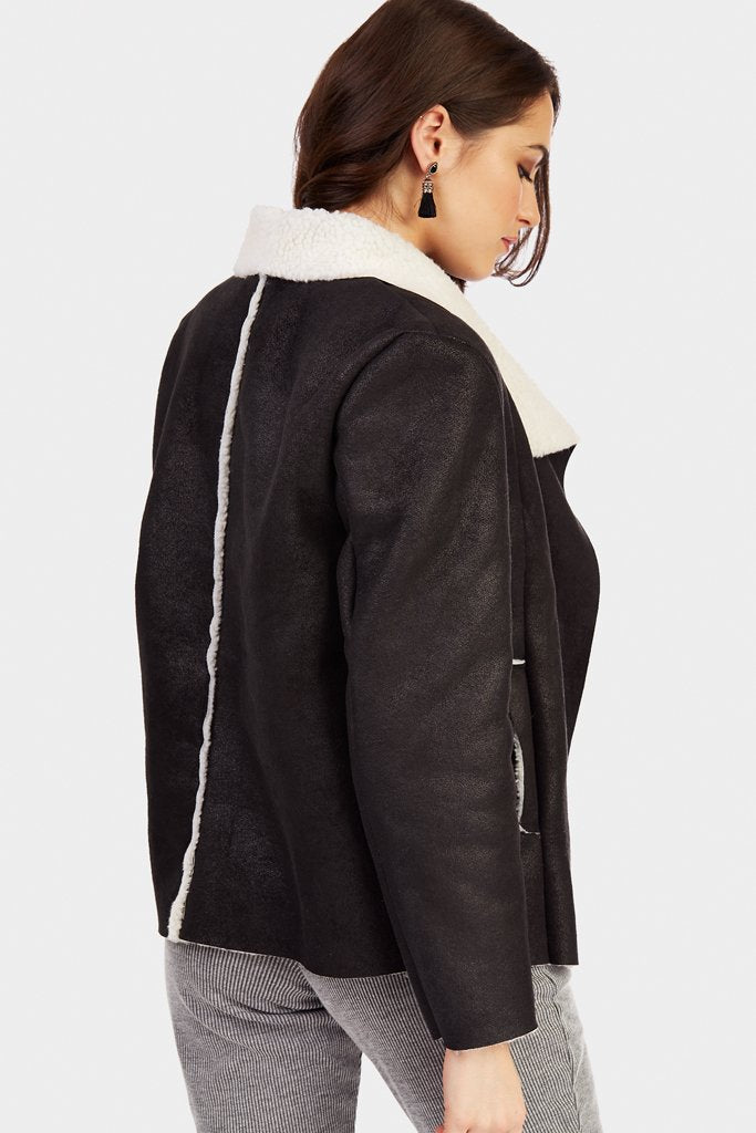 Black Waterfall Collar Shearling Jacket