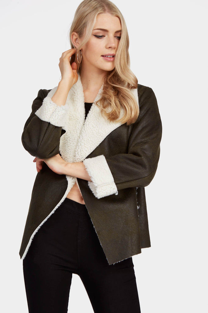 Khaki Waterfall Collar Shearling Jacket