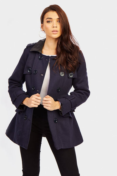 Navy Jacket With Faux Leather Trims
