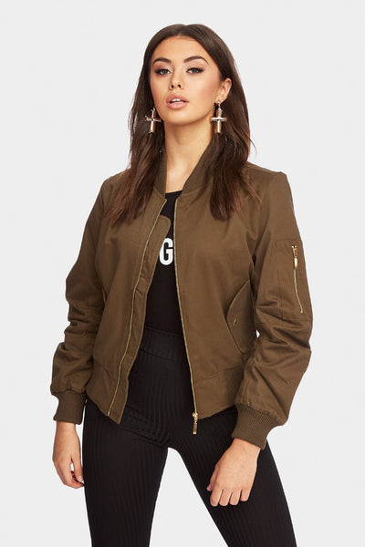 Khaki Front Button Pocket Bomber Jacket