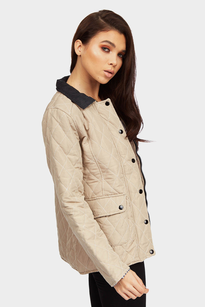 Stone Button Front Quilted Jacket
