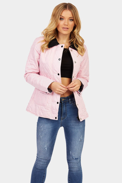 Baby Pink Button Front Quilted Jacket