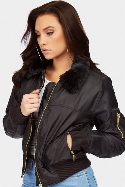 Black Fleece Collar Bomber Jacket