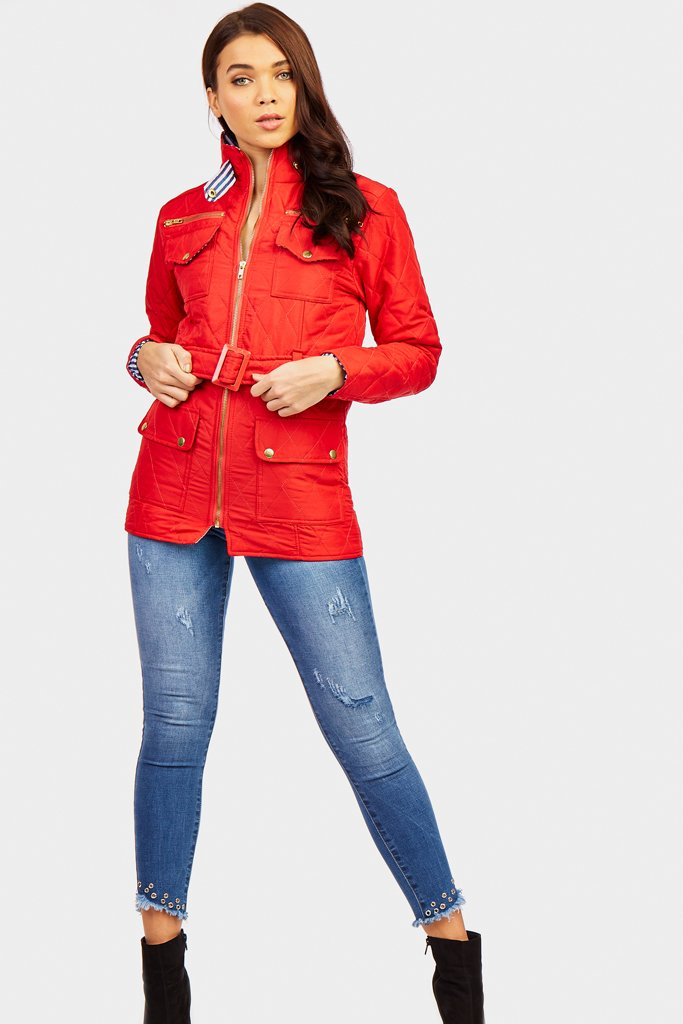 Red Quilted Jacket With Belt