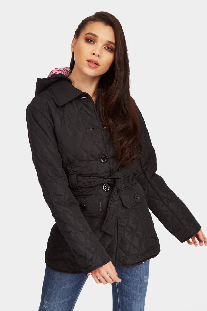 Black Quilted Double Breasted Coat