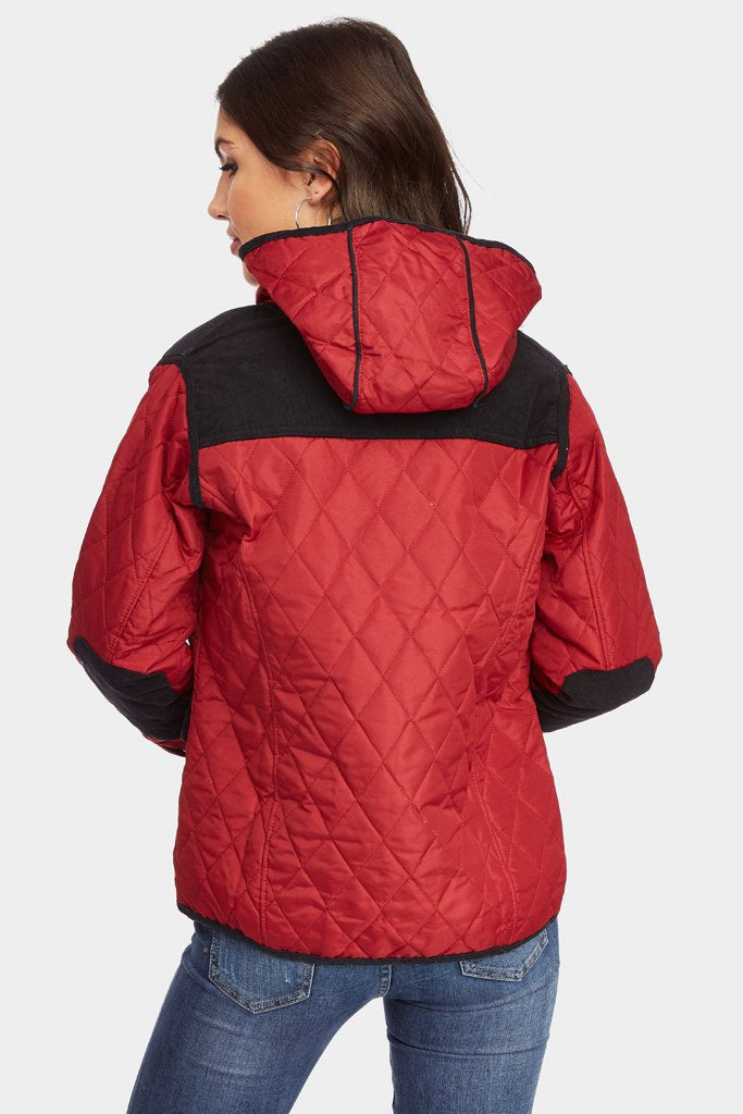 Wine Quilted Jacket With Velvet Detail