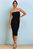 Black Slinky Bandeau Midi Dress