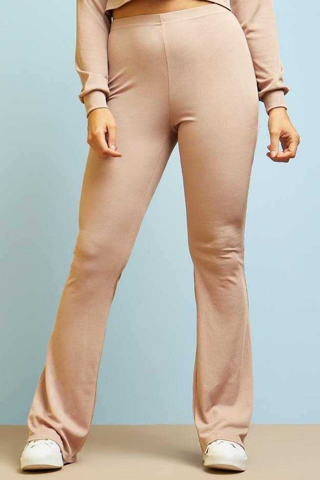 high-waisted-ribbed-flared-trousers view 4