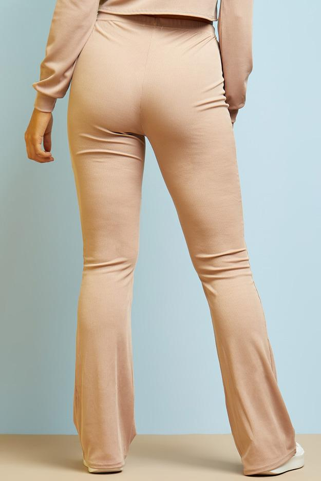 high-waisted-ribbed-flared-trousers view 2