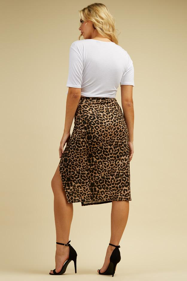 Multi Leopard Print Wrap Midi Skirt 3 view 3