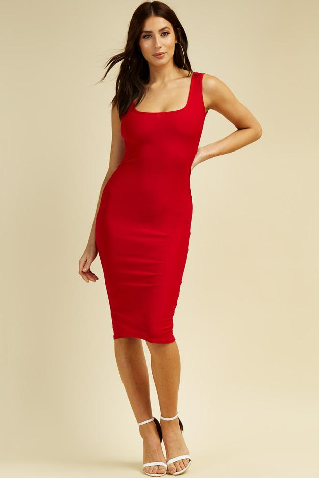 Red Square neck Midi Dress 1