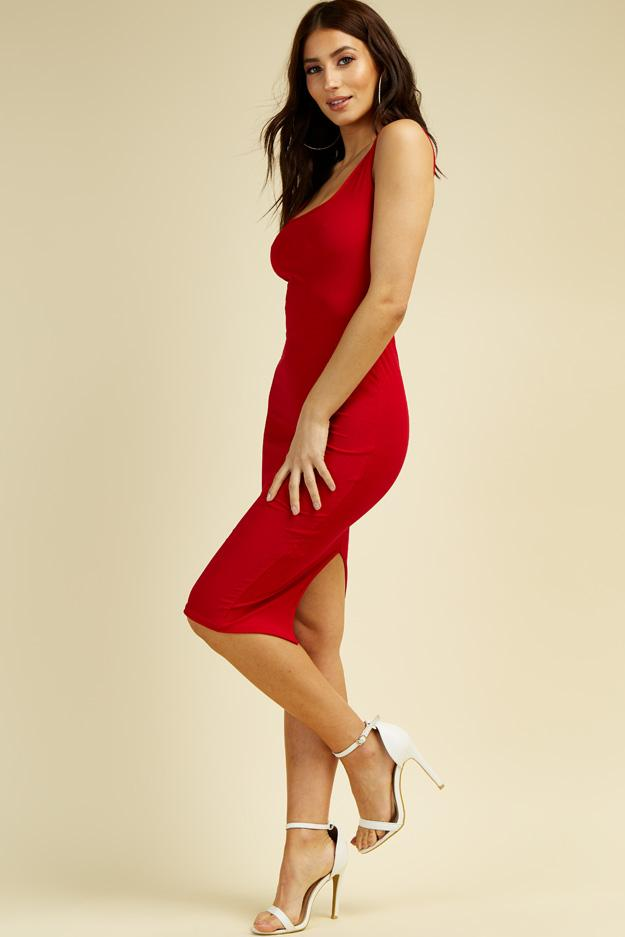 Red Square neck Midi Dress 5 view 5