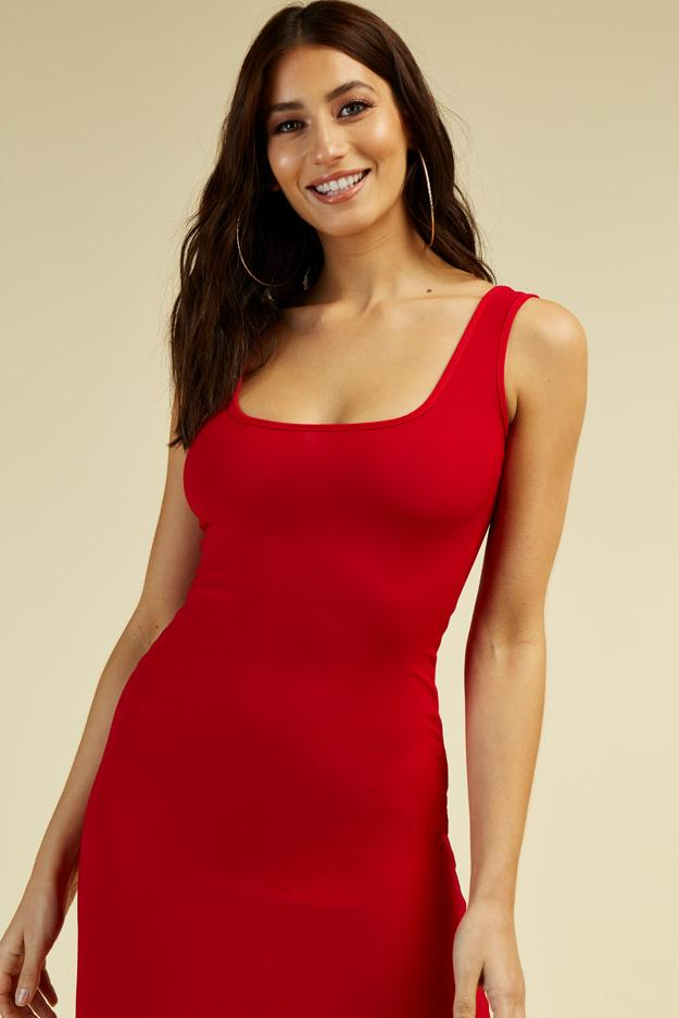 Red Square neck Midi Dress 3 view 3