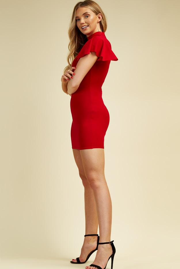 Red High Neck Frill Sleeve Dress 3 view 3