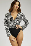 Multi Zebra High Wrap Front Bodysuit