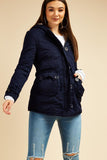 Dark Blue Faux fur lined hood coat