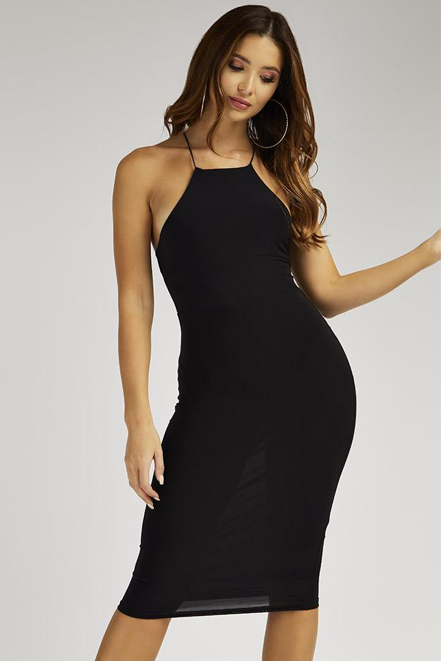 Black Cross Spaghetti Strap Midi Dress 1