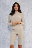 Beige Turtle Neck Long Sleeve Top