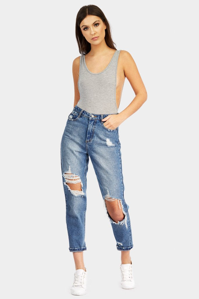 Silver Grey Low Side Scoop Bodysuit