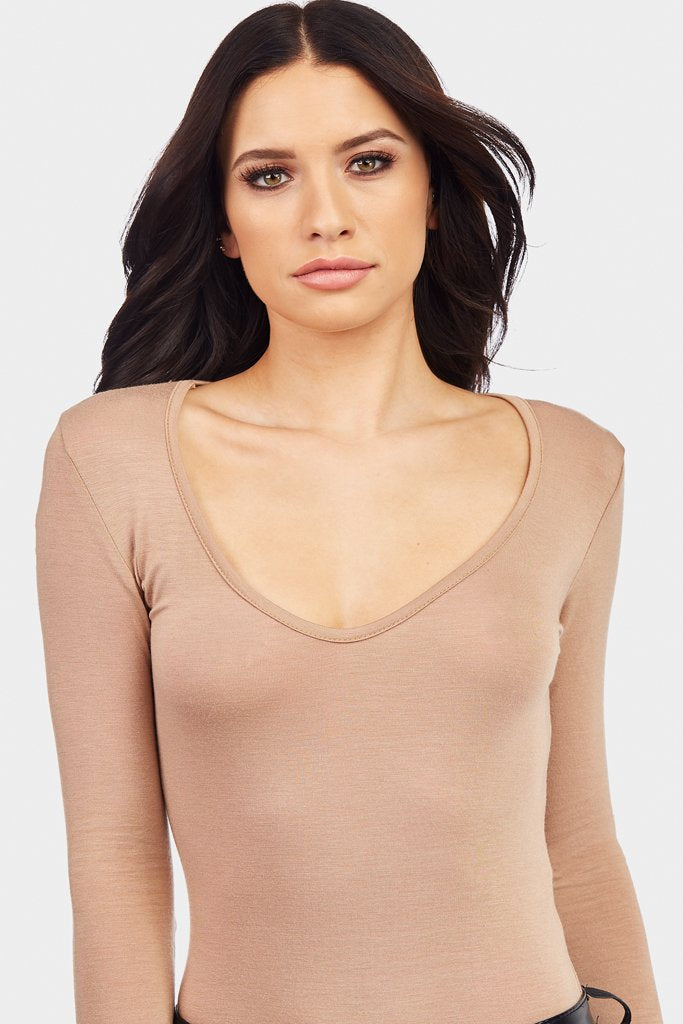 Beige Plunge Long Sleeve Bodysuit