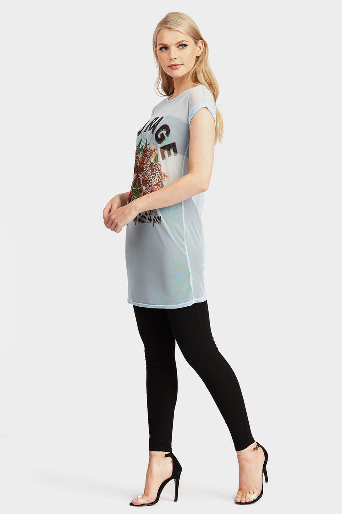 Skyblue Printed Courage Mesh T-Shirt