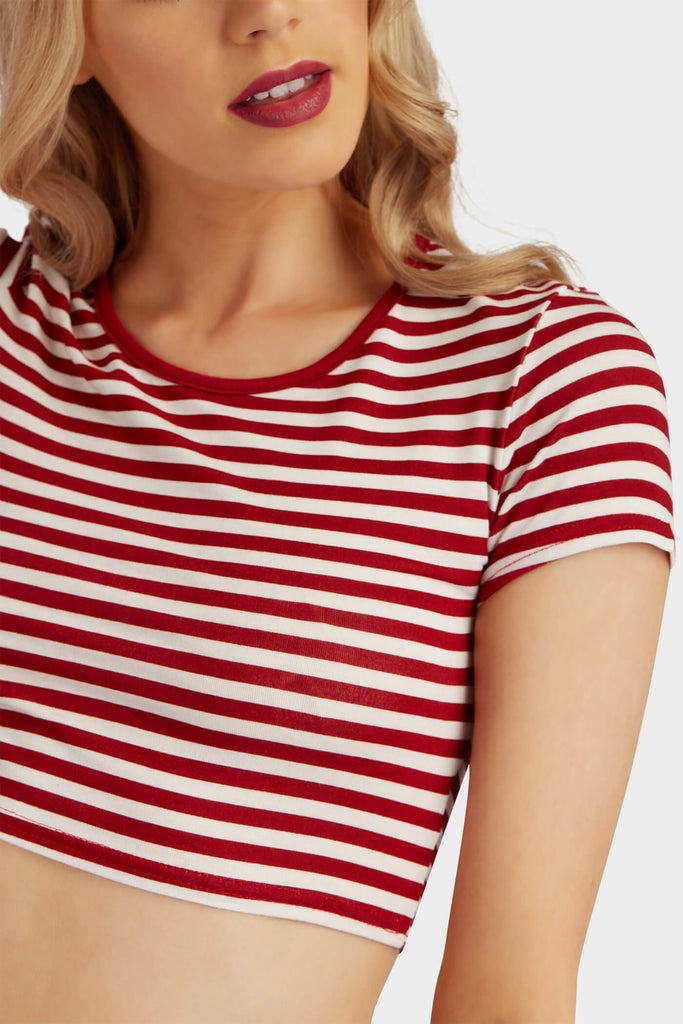 Red Basic Stripe Crop Top