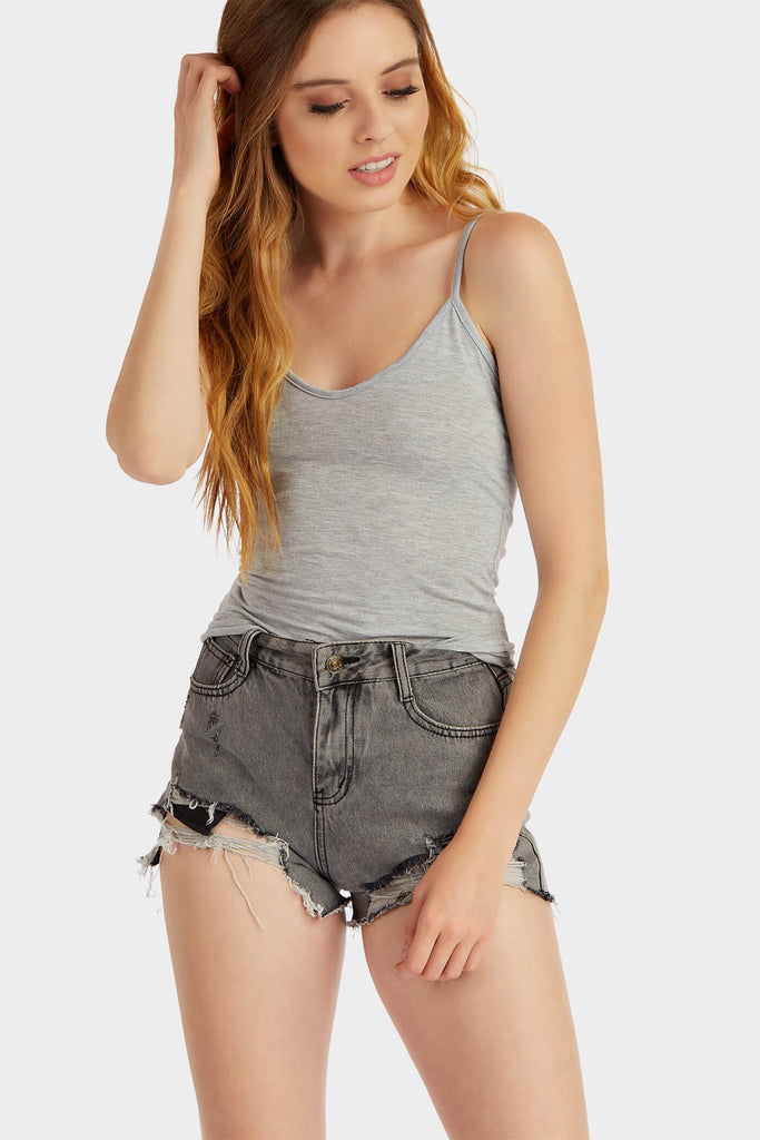 Greymarl Basic Wide Strap Vest Top