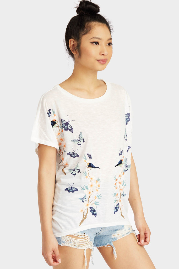 Cream Butterfly Print Top