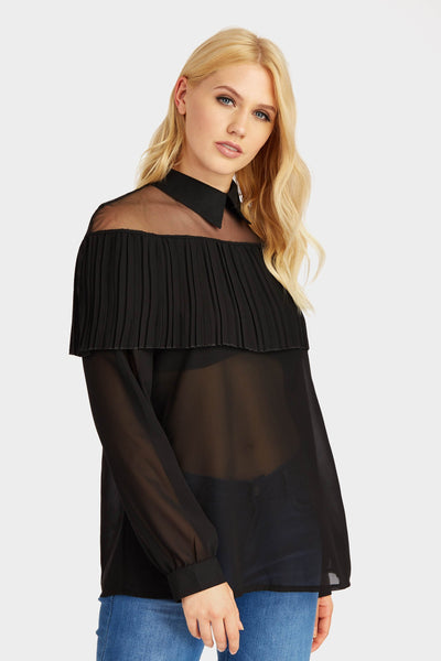 S17W-1000004055-BCK-S/M-mesh-blouse-with-ruffle-front-black-jl1833