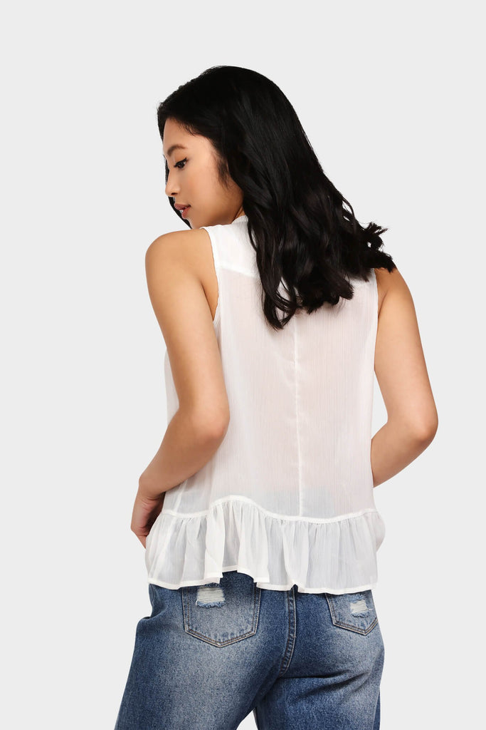 White Sleeveless Pussy Bow Top