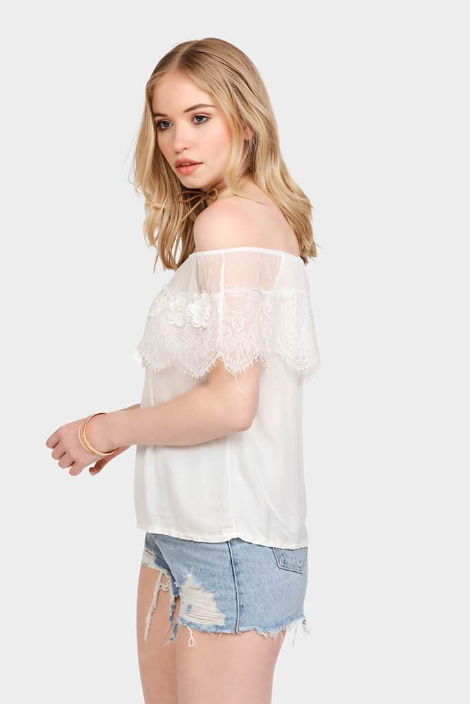 White Daisy Lace Off Shoulder Top