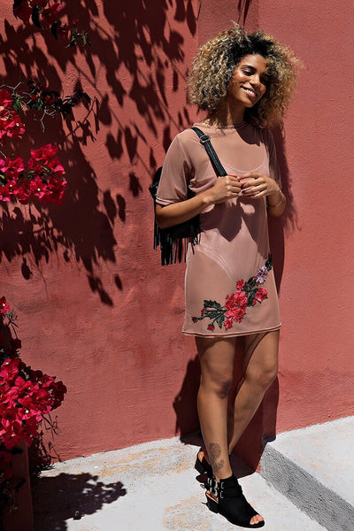 Rose Mesh Embroidered Dress And Bodysuit