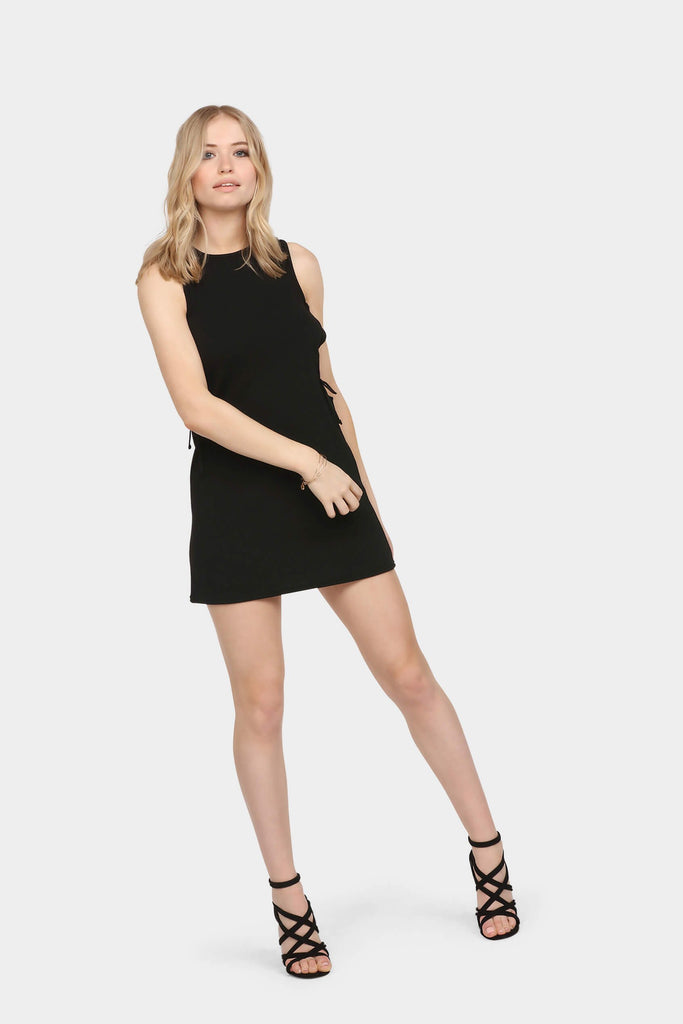 lace-up-textured-shift-dress