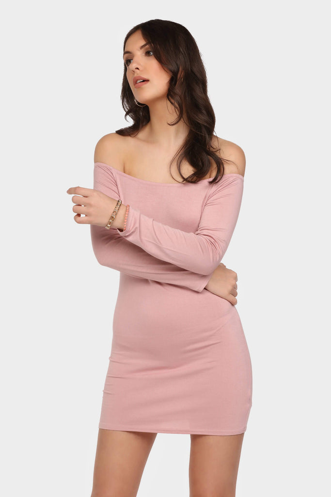 Mauve Off Shoulder Basic Mini Dress