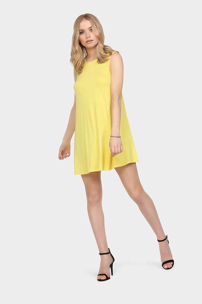 Yellow Sleeveless Swing Dress