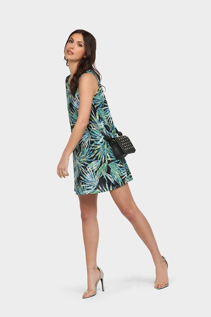 Multi Printed Sleeveless Swing Dress