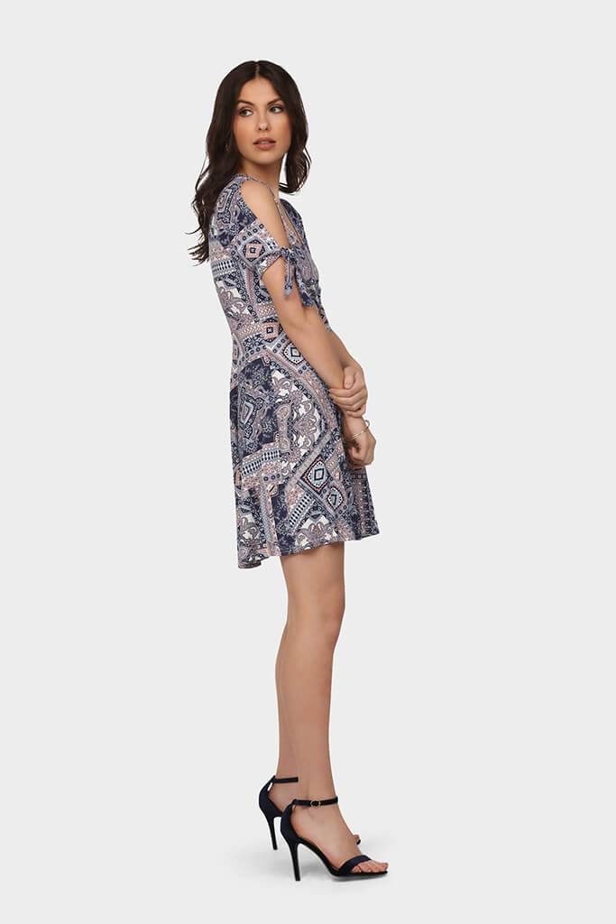 Multi Printed Wrap Front Skater Dress