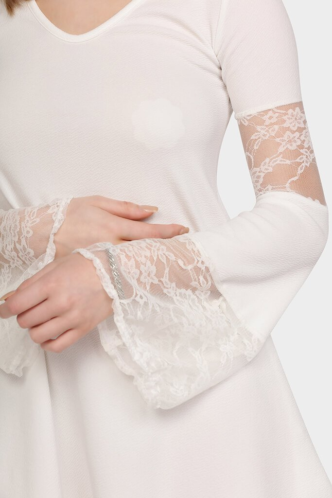 lace-panelled-flute-dress view 2