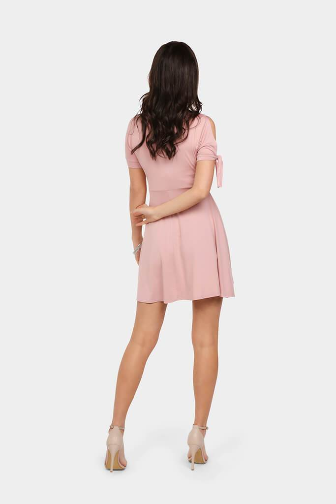 Purple Wrap Front Skater Mini Dress With Arm Detail