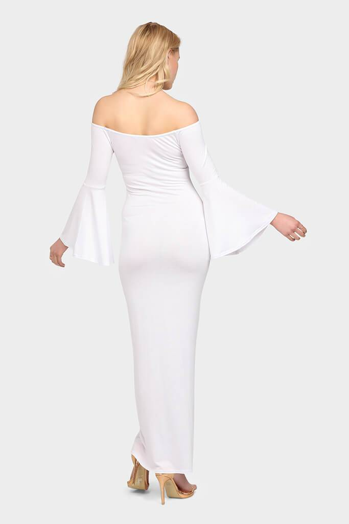 White Off Shoulder Bell Sleeve Maxi Dress