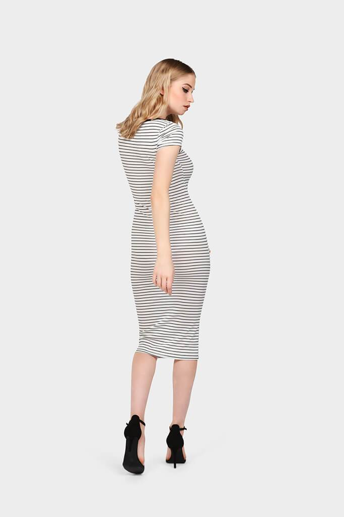 White Rib Stripe Midi Dress