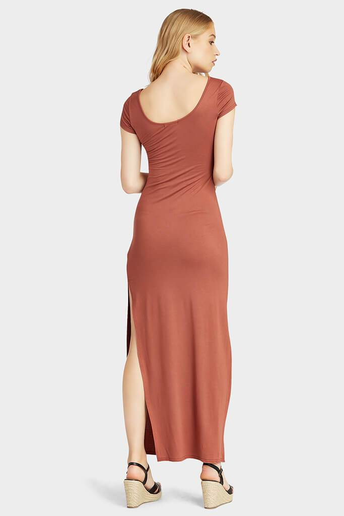 Brown Cap Sleeve Side Split Maxi Dress